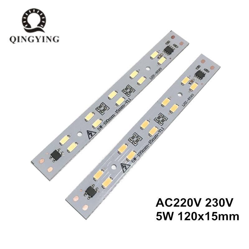 1pcs AC 220v LED Crystal Light Bar Strip 5W 120mm 160mm Free Driver Module SMD 5730 Led Pcb White Warm White T5 T8 Light Source