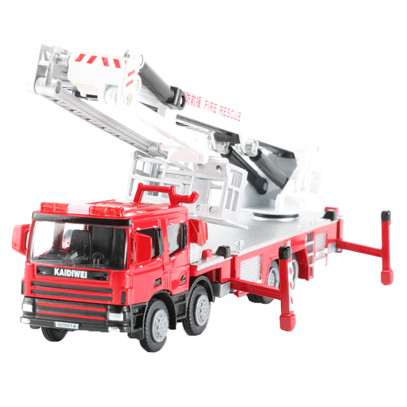 KDW 1:50 Scale Alloy Platform Fire Engine Model Toy Fire Truck Models Construction Trucks Car Toys For Children Boys Gift