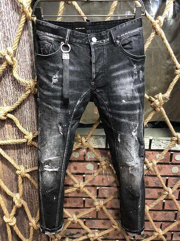 famous Brand slim fit summer fashion patchwork denim ripped zipper biker skinny jeans for man beggar Knee Hole Heavy industry