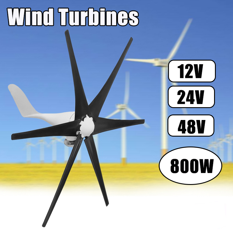 12V 24 V 48 Volt 800W 6 Black Nylon Fiber Blade Horizontal Wind Turbines Wind Generator Power Windmill Energy Turbines Charge