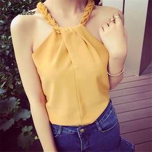 Sexy Halter Chiffon Blouse Summer New Fashion Solid Patchwork Women Sleeveless Casual Loose Ladies Shirts white casual halter sleeveless t shirts