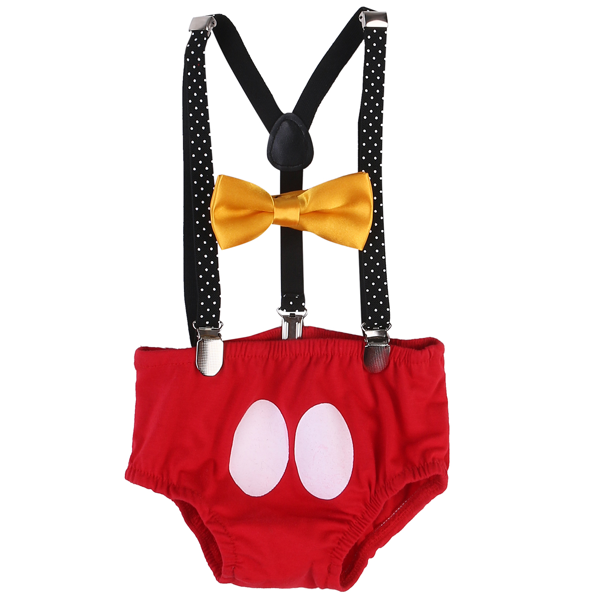 Baby Boys Cake Smash Outfit First Birthday Bloomers Bowtie Suspenders Clothes Set Clothes