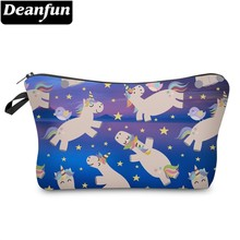 Deanfun Waterproof Cosmetic Bags 3D Printing Cute Sky Birds Unicorn Makeup Bag Toiletry Bag for Travel  51360 # deanfun 3d printing cosmetic bags zipper polyester bowknot organizer for travel necessary for women makeup fashion 50756