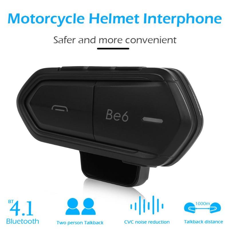Be6 casque moto casque 1000 m sans fil Bluetooth Interphone étanche BT Interphone pour 2 coureurs noir