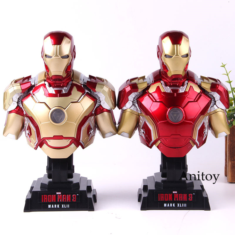 Marvel Avengers Iron Man Figure With Light Bust Collection Model Toy Mark XLIII Htb28 1/4th Scale Ironman