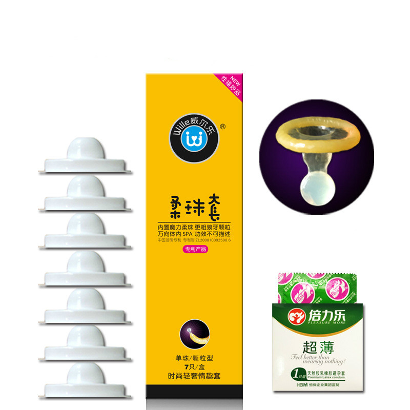 Wille Ribbed Dotted Condom Special Soft Silicone Ball Condoms Penis Extender Sleeve G Spot Stimulation Sex Toy Adult Product