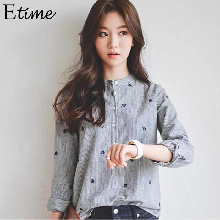 Blouse   Women Casual Loose Long Sleeve Embroidery Autumn/Spring Stripe General   Blouse     Shirt   Grey Stand Top Button
