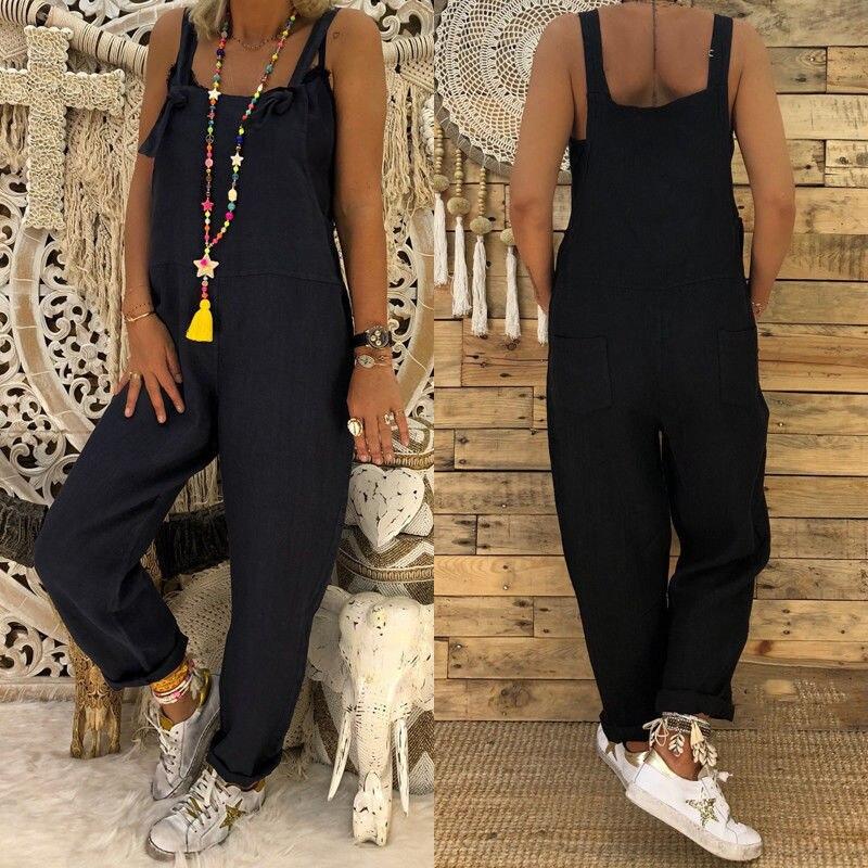 Женский модный Повседневный свободный льняной хлопковый комбинезон, брюки, комбинезон, черный, серый, хаки