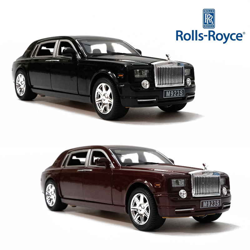1/24 Metal Car RollRoyce Phantom Cohes Diecast Alloy Vehicle Light Sound High Simulation Toy For Children Collection Hot-Wheel