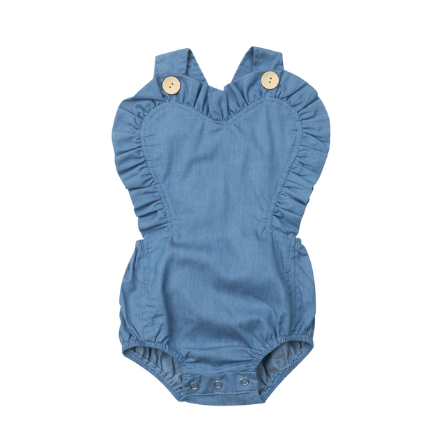 f3c6a77d12 2019 Brand New Infant Kids Baby Girls Denim Bodysuits Heart Shape Ruffles  Backless Sunsuit Solid Blue Jumpsuits Summer Clothes
