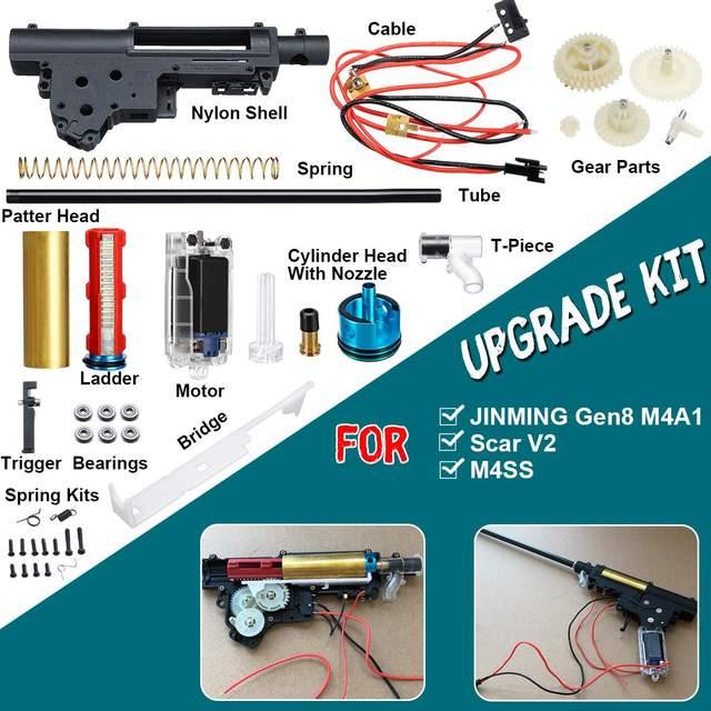 Gearbox Upgrade Kit for JinMing M4A1 Gen 8 Upgrade Nylon Gearbox Metal Ladder Modified Kit Gel Ball Blas ter Toy Gu ns