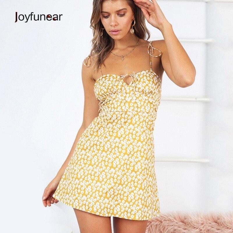 Joyfunear 2019 Casual Holiday Beach Summer Dresses Flower Printed Lolita Style Women Dress Spaghetti Strap Sleeveless Mini Dress