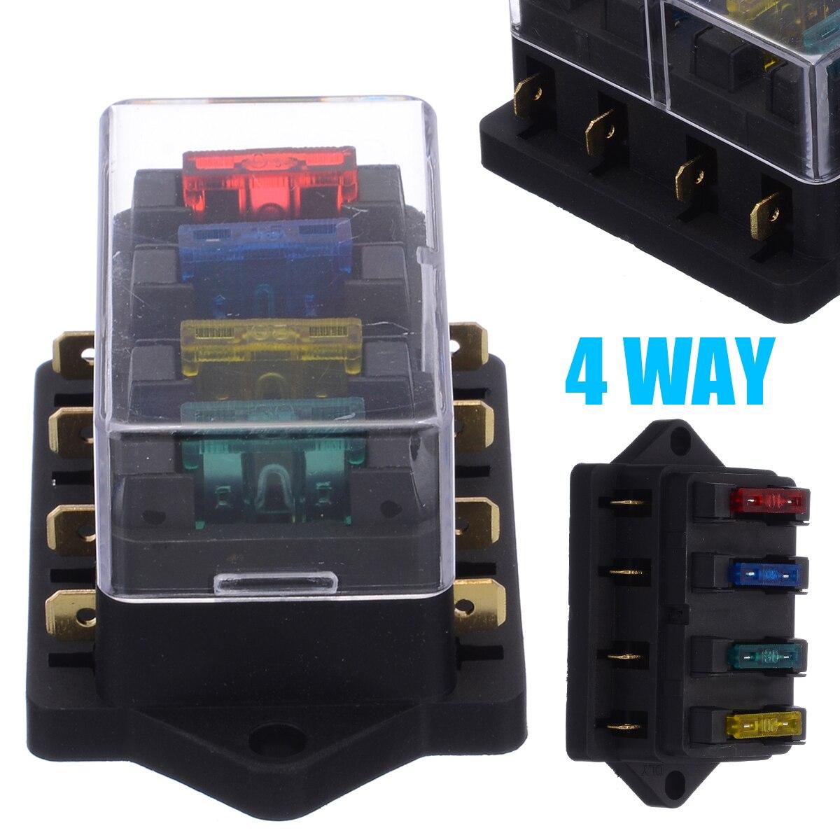 12v 1 x 4 way blade fuse box holder 4 terminal fuse box wiring diagrams show  4 terminal fuse box wiring diagrams show