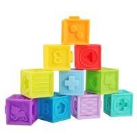 키즈 3D DIY 조립 빌딩 블록 부드러운 고무 비닐 양각 블록 일치하는 장난감 키즈 파악 목욕 장난감 짜기 Teethers 완구