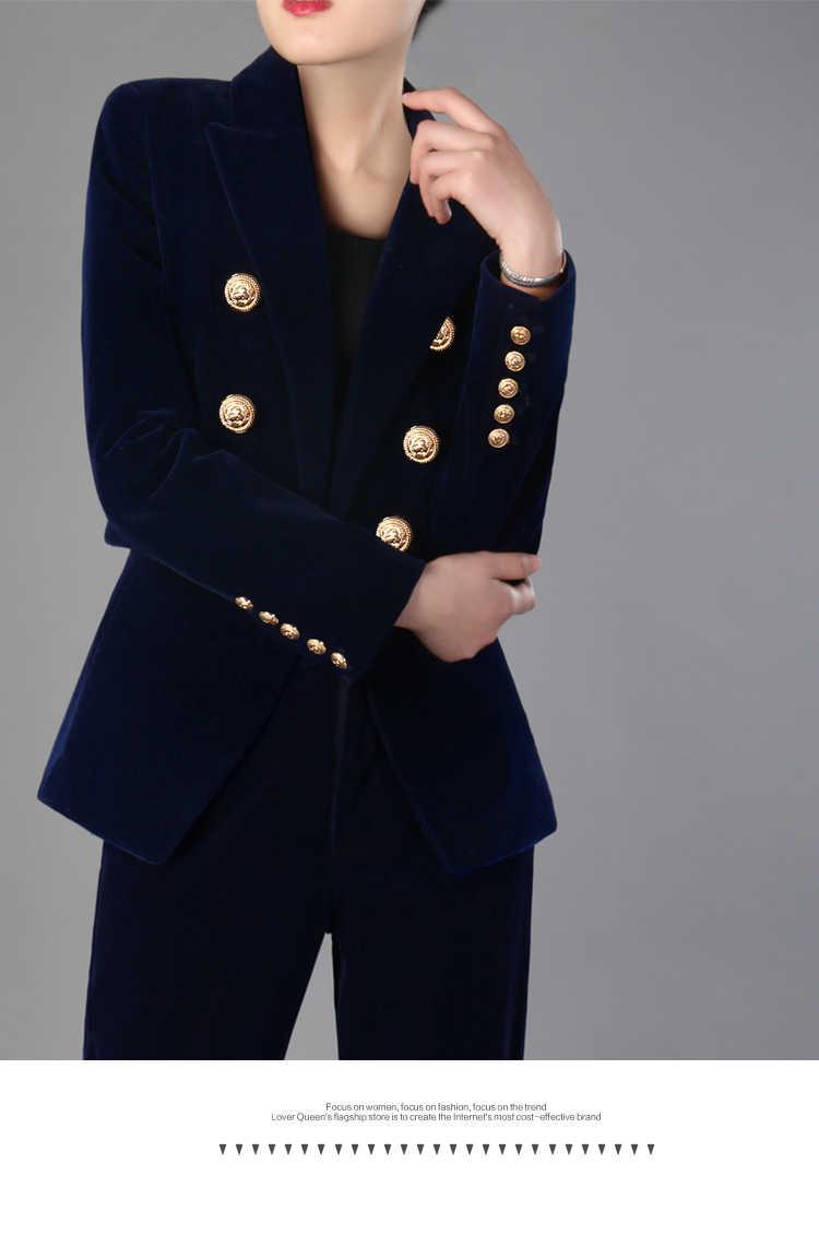 Trajes de trabajo CPN pantalón OL de 2 piezas, conjunto de chaqueta de terciopelo con doble botonadura y pantalones con cremallera, traje para mujer, trajes femeninos de primavera