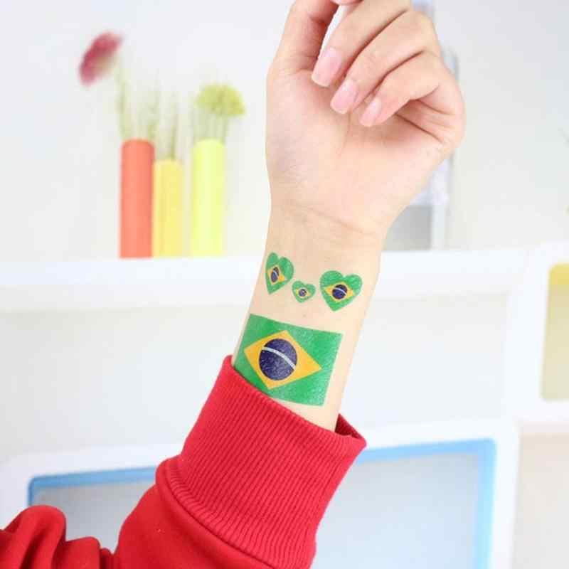 Coupe du monde de Football imperméable à l'eau jetable drapeau National tatouage équipes de pays autocollants sur visage bras combinaison aléatoire par vous-même