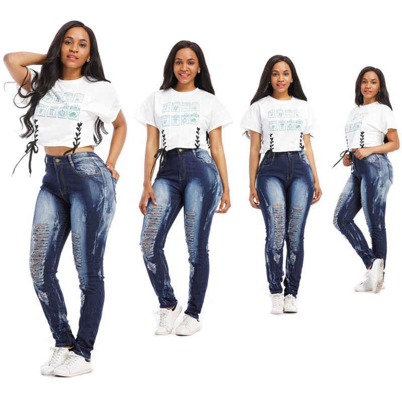 Женские обтягивающие рваные джинсовые длинные брюки до колена с дырками синие узкие повседневные летние узкие брюки джинсы