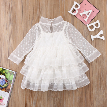 Autumn 1-5Y Cute Kids White Pink Lace Dress Girls New Year Costumes Girls Baby Girl Gown Dresses Tutu Dress Tulle Hole Vestidos 2016 summer baby girls sequin dress stars sequins tulle bow toddler tutu princess dress girl kids costumes 1 5years sequin dress
