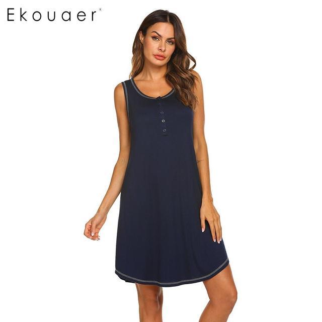 Ekouaer Kadın gece elbisesi Gecelik Yaz Gecelikler Gecelik Katı Kolsuz Yuvarlak Boyun Düğmesi Annelik Gecelik Pijama