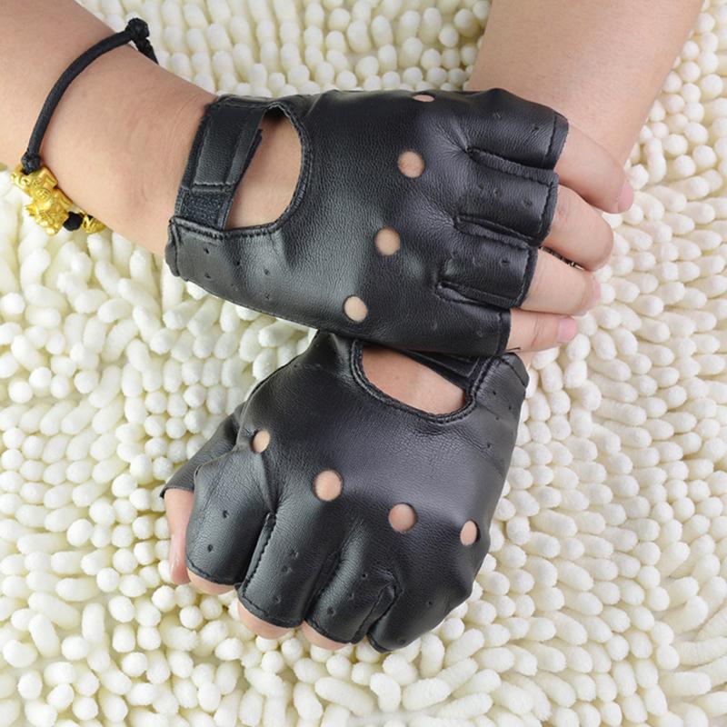 1 Pair Unisex Black PU Leather Fingerless Gloves Solid Female Half Finger Driving Women Men Fashion haulage motor Punk Gloves