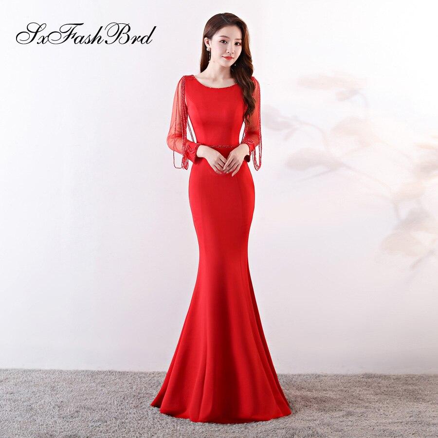 Vestido De Noche Fashion Robe Soiree O Neck Crystals Long Sleeves Mermaid Long Party Women Evening Dress Sexy Prom Dresses