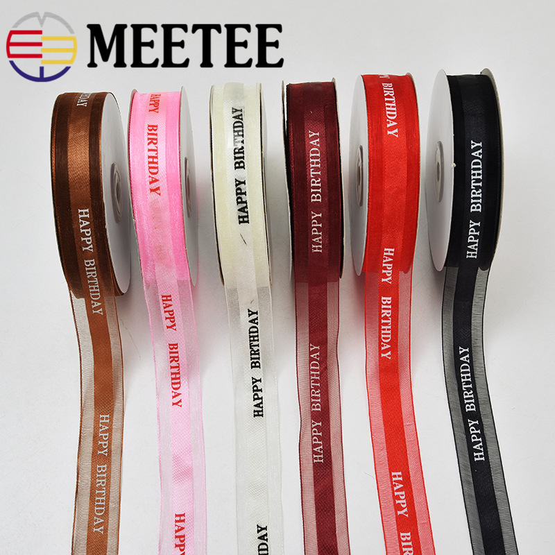 50Yards Meetee 25mm Organza Silk Satin Ribbon Printed English Logo For Birthday Party Card Gift Wrapping Wedding Christmas Decor
