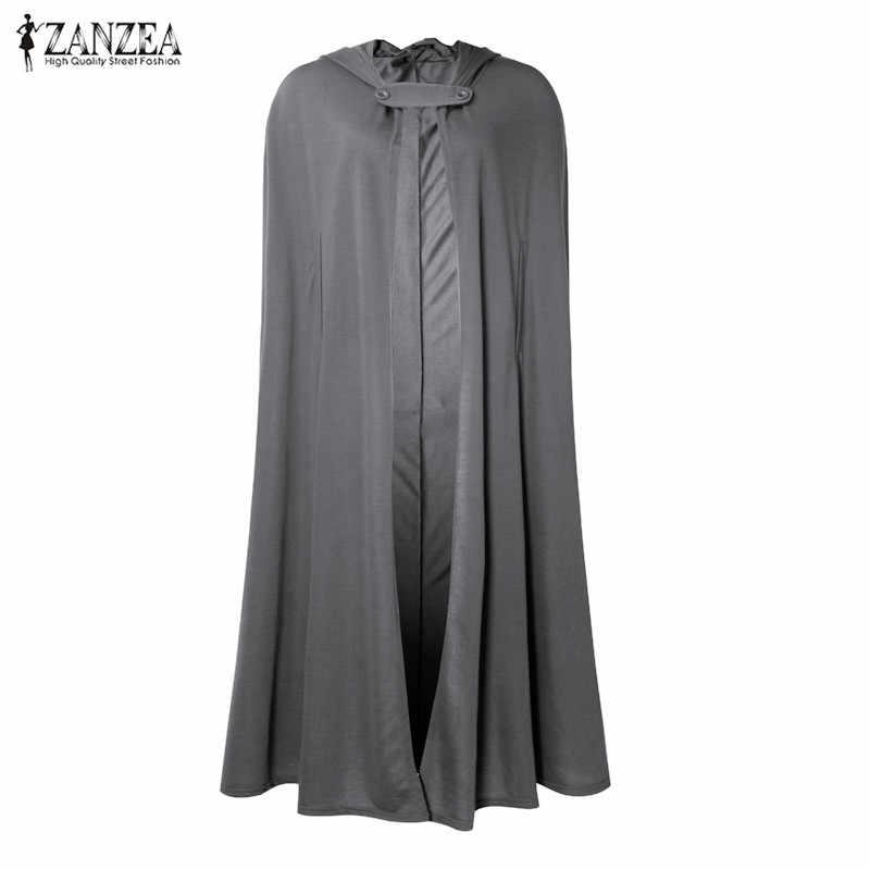 2019 Plus Size ZANZEA Herfst Batwing Party Jassen Hooded Capes Dunne Vrouwen Winter Lange Jas Jas Mantel Poncho Vest