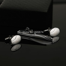 CT-014B Personalized Silver Mens Tie Clips Cufflinks Gift Set  Exquisite Clip For Men Free Shipping Customized Wedding
