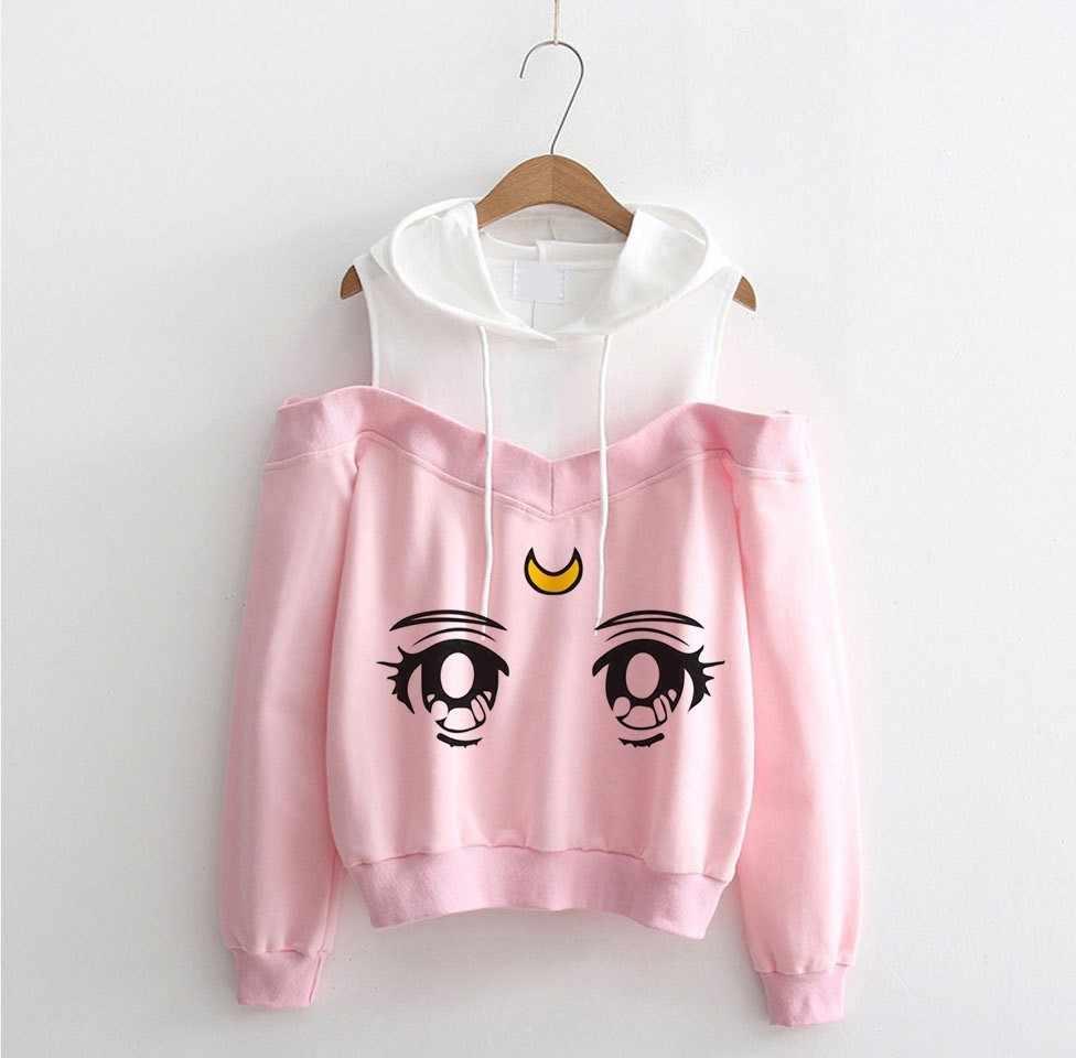 Sailor Mond Hoodie Kawaii Kleidung Tops Frauen Hoodie Harajuku Sailor Moon Cat Shirt Off-schulter sweatshirt Femme Mädchen Frau