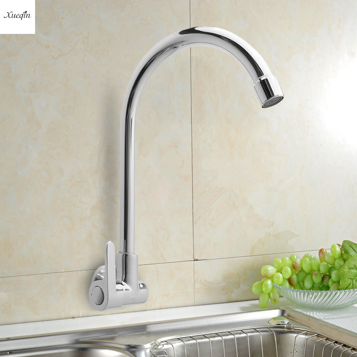 Bathroom Single Handle Single Cold Tap Kitchen Water Faucet 360Rotatable Wall Mounted Basin Sink Faucet SpoutBathroom Single Handle Single Cold Tap Kitchen Water Faucet 360Rotatable Wall Mounted Basin Sink Faucet Spout