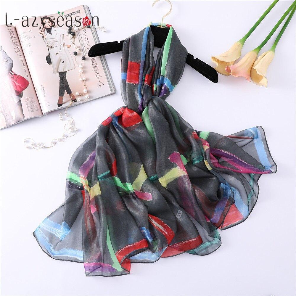 2019 New Fashion Head Silk   Scarf   Women luxury brand thin print foulard femme Silky   Scarves     Wraps   Lady's shawl high quality