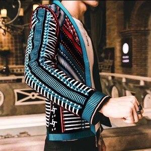 Image 2 - Colorful Embroidery Suit Blazer Masculino Men Blazer Hombre Stage Party Club Designer Slim Jacket Men DJ Host Mens Blazer Jacket