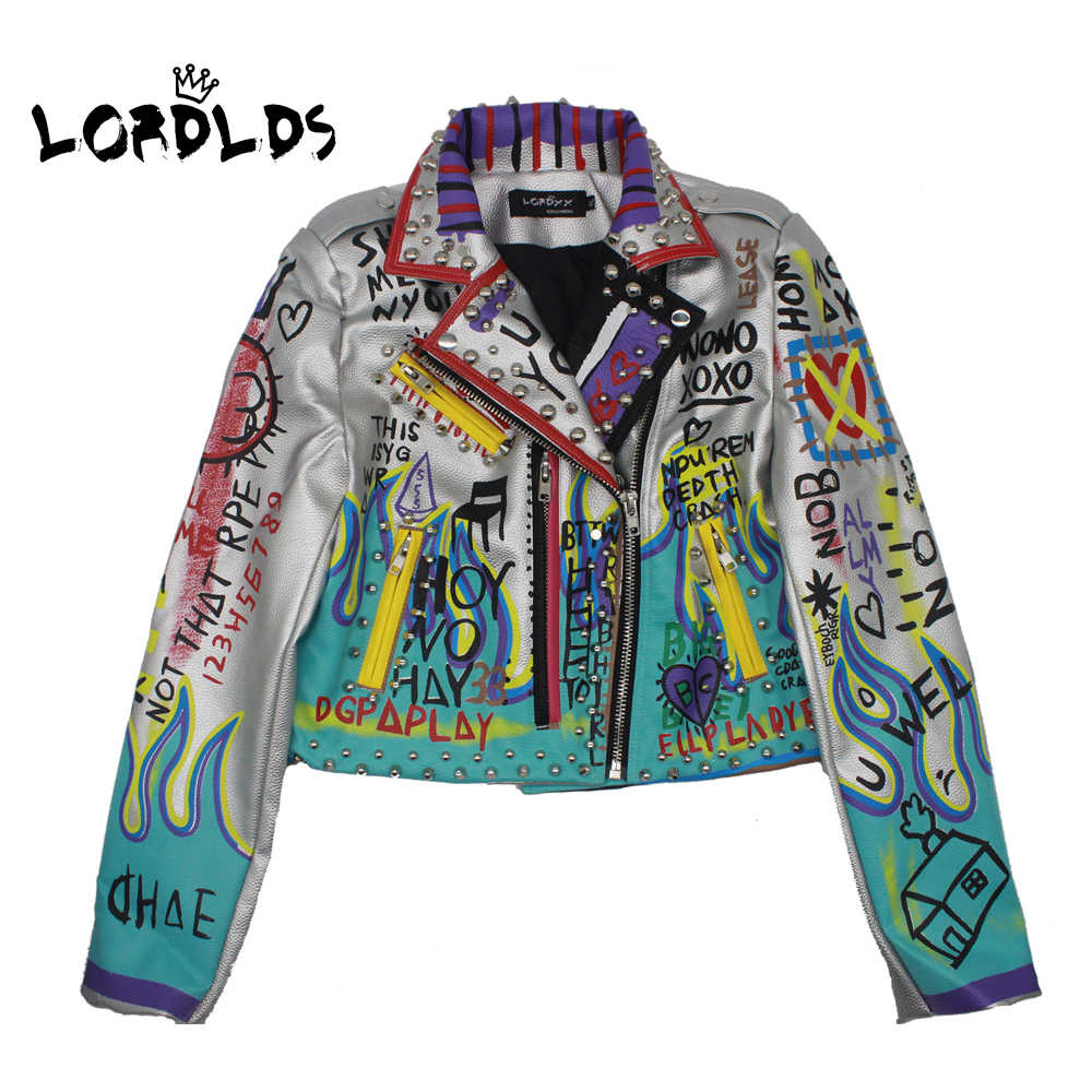 LORDLDS Leather Jacket Women 2019 Fashion Print New Spring Turn-down collar Punk Rock Silver Jackets Ladies Outwear coats