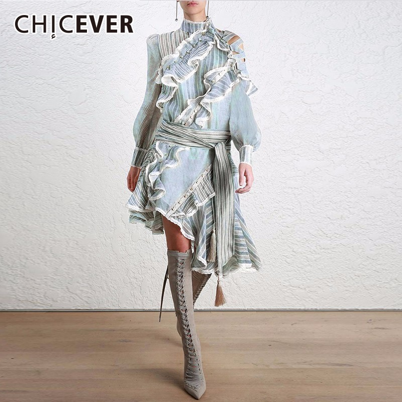 CHICEVER Off Shoulder Dress Female Striped Ruffles Patchwork Hollow Lantern Sleeve Summer Top Lace Up Asymmetrical Fashion Tide