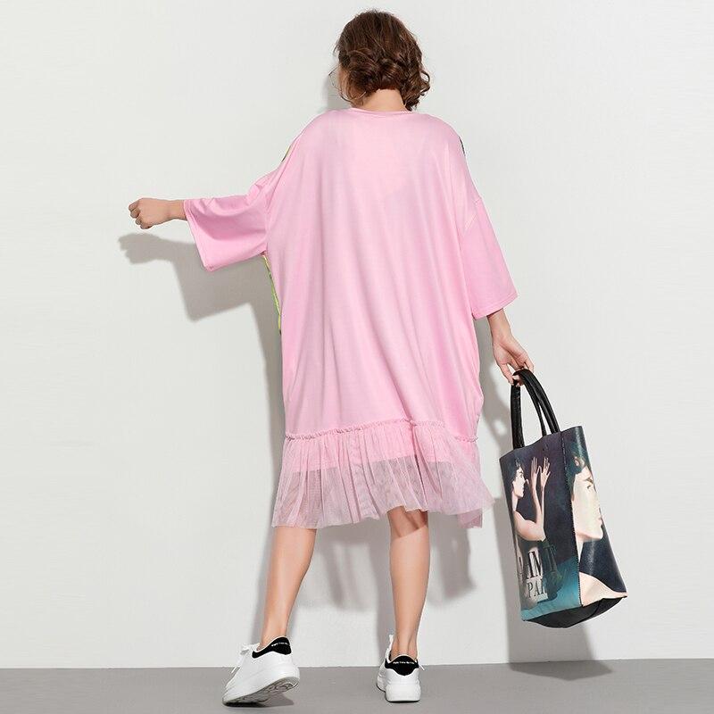 Donne Qing Lunghezza O Shirt T Di shirt Rosa neck Delle Mo Merletto Size Nodo Zld667a Vestito Ginocchio Colore Del One Fumetto Coniglio Paillettes Pink T 7rZ7HBwq
