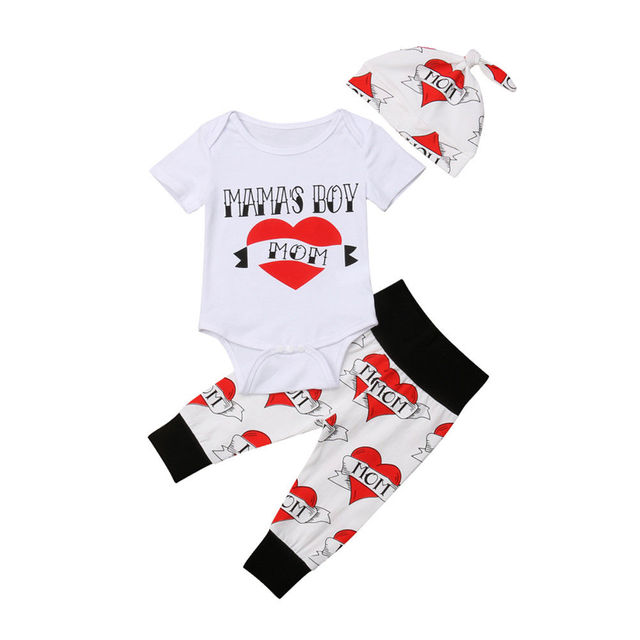9044f4957e6 Cute Baby Boys Clothing Infant Letter Romper Bodysuit Jumpsuit Printed Pants  Leggings Toddler Baby Outfits Clothes Set 0-18M
