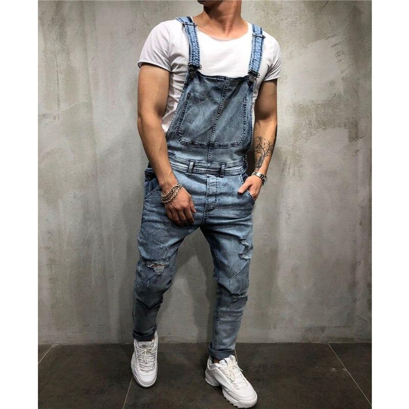 Fashion Men's Ripped Jeans Jumpsuits Hi Street Distressed Denim Bib Overalls For Man Suspender Pants Size S-XXXL Z3