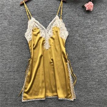 9783de8b7d96d01 2019 летние Для женщин ночные сорочки трусы Ночные сорочки шелковые пижамы  атласная Sexy Спагетти ремень ночная рубашка кружевное нижнее белье