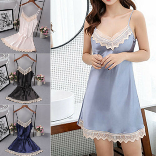 Sexy Lingerie Women Silk Lace Robe Dress Babydoll Nightdress   Nightgown   Sleepwear Summer Sleeveless   Sleepshirts