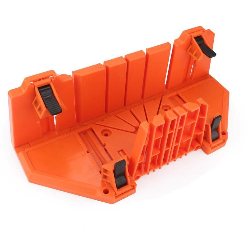 Multifunctional Miter Saw Box Cabinet 0/22.5/45/90 Degree Saw Guide Woodworking Orange 14inch ABS Plastic Mitre Box With Clamp