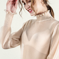2019 Summer Apricot Tops Chiffon Frill Shirts Long Sleeve Blouses Women China Femininas Camisas Clothing Female Plus Size PJ358