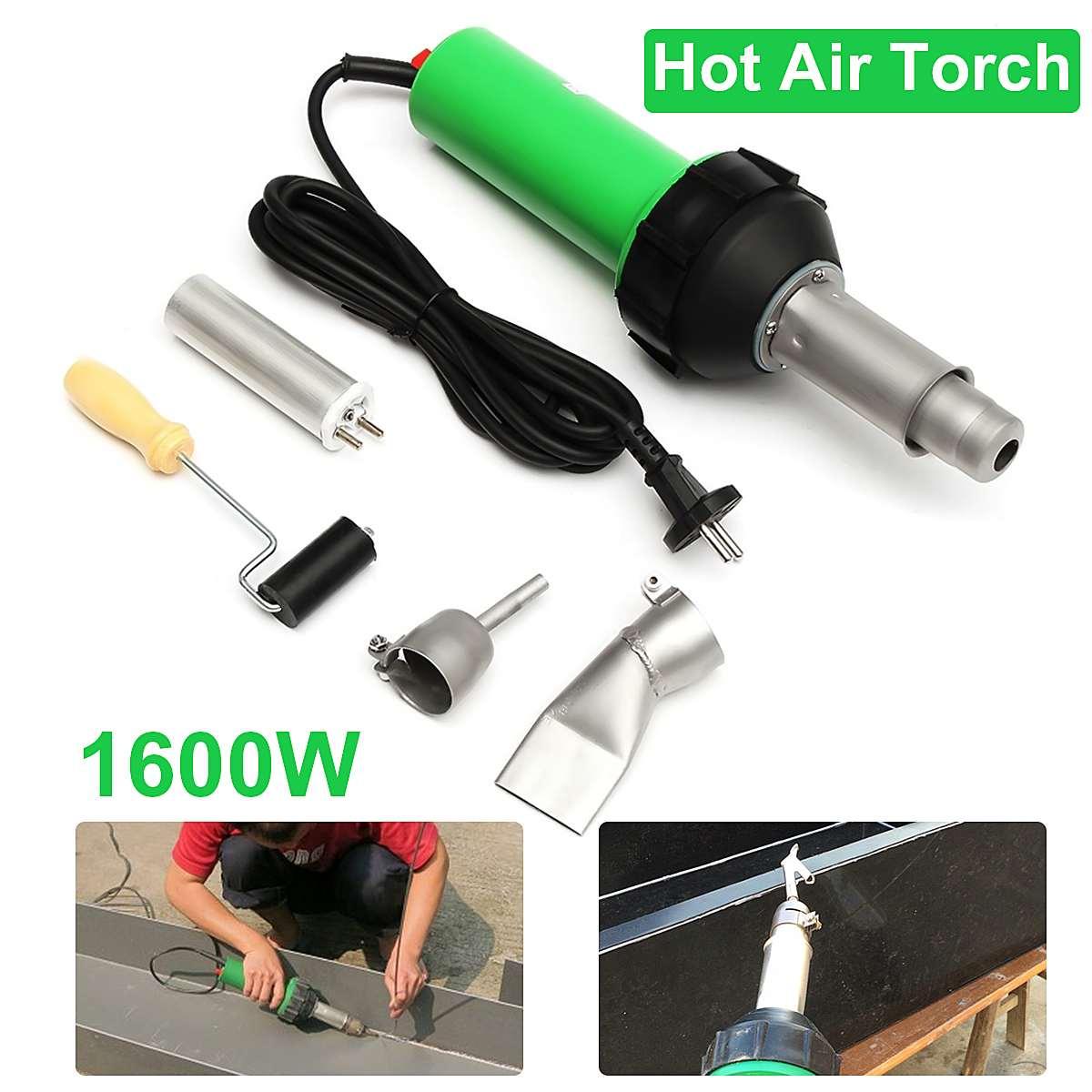 220 V 1600 W 50Hz torche à Air chaud électronique torche de soudage en plastique + buse + rouleau de pression 3000 Pa