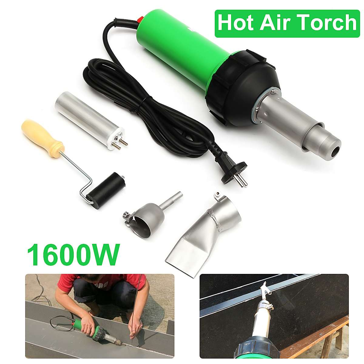 220V 1600W 50Hz Electronic Heat Hot Air Torch Plastic Welding Welders Torch + Nozzle + Pressure Roller 3000Pa