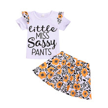 Toddler Summer Clothes Baby Girls Outfits Letter Print T-Shirt Top+Floral Bow Skirt 2PC Clothes Kids Baby Girl Clothes Drop Ship