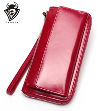 Bolso de mano para teléfono para mujer, cartera larga encerada de piel, billetera de fiesta, titular de la tarjeta femenina