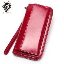 Moda kadın telefonu bileklik çanta mumlu deri manşonlar uzun bayanlar cüzdan bayan parti cüzdan kadın kart tutucu