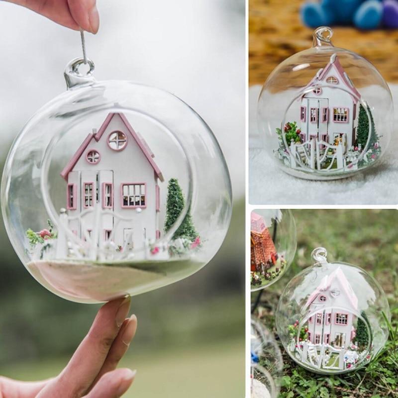 DIY Rila Castle Glass Ball Dollhouse G012 Handmade Wooden Assembling Micro Landscape Miniatura Furniture LED Light Gift Doll 1