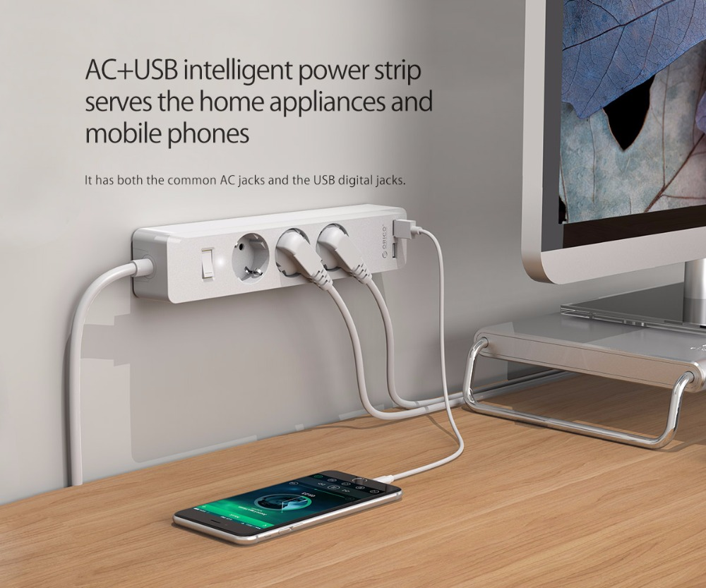 Image 3 - ORICO 3/5 AC+2 USB Power Strip with USB Electronic Socket Home Office Surge Protector EU Plug hargers Extension Smart SocketExtension Socket   -