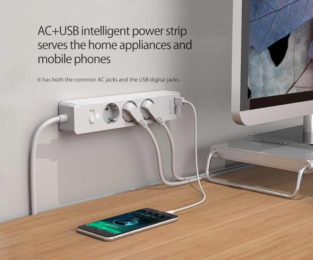 ORICO 3/5 AC + 2 listwa zasilająca z USB z USB elektroniczny gniazdo biuro w domu zabezpieczenie przeciwprzepięciowe ue wtyczka hargers rozszerzenia inteligentne gniazdo