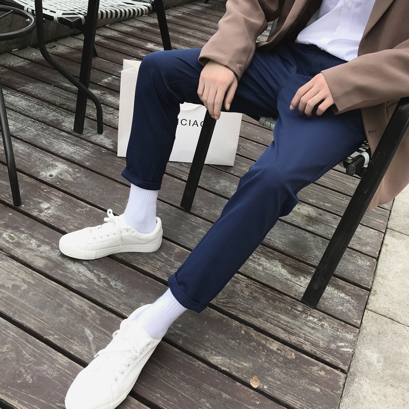 Men 39 s Trousers 19 Spring New Youth Popular Wild Solid Color Casual Pants Nine Points Slim Trousers Student Casual Men 39 s Clothing in Casual Pants from Men 39 s Clothing